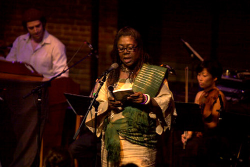 Patricia Jabbeh Wesley is an associate professor of English at Penn State University in Altoona, Pennsylvania. She, along with eight other poets, joined jazz musicians on stage for the fourth annual City of Asylum Pittsburgh jazz and poetry concert.                                             (Renee Rosensteel)