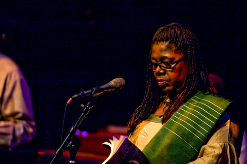 "Patricia Jabbeh Wesley performed ""Poem Written From a Single Snapshot"" and more at this year's City of Asylum Pittsburgh jazz and poetry concert.  Her latest book of poetry is titled ""The River is Rising.""                                             (Renee Rosensteel)"