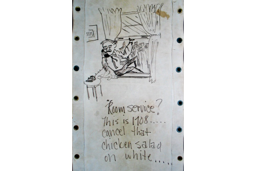 Humor regularly appears in the graffiti on the bunk canvases. The man drawn here cancels a room service order before taking a leap, likely a reference to either the military draft or the ship nearing arrival to Vietnam.                                             (Courtesy Lee Beltrone)