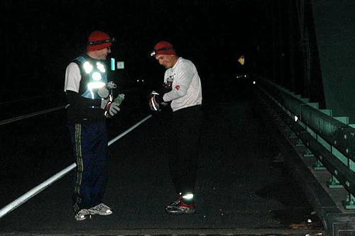 It's 6 am in Chesterfield, N.H. as John Lacroix and Nate Sanel begin their 124 mile run across the state.                                             (Sarah Chretien)