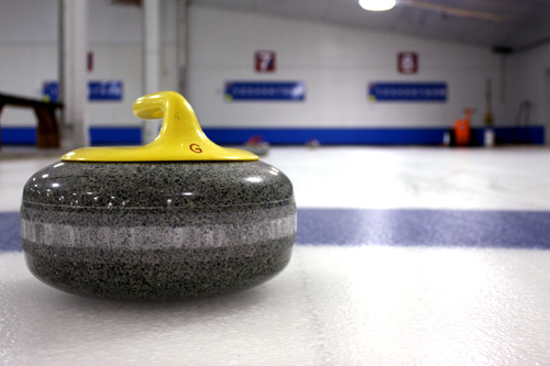 A curling stone on the ice at the St. Paul Curling Club: Each rock weights about 42 lbs.                                             (Rob Byers)
