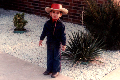When he was growing up in Northeast Oklahoma Kareem Salama knew that he wanted to be a cowboy.  He started wearing the uniform early.                                             (Courtesy Kareem Salama)