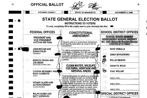 "This ballot's odd ""jellyfish"" ink blotting caused it to be challenged by the Franken campaign due to ""distinguishing marks.""                                             (Minnesota Secretary of State's Office/MPR)"