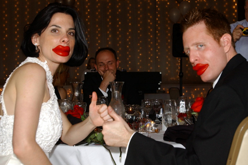 Paula and her husband, George, believe that wax lips should be the first course at every wedding.                                             (Courtesy Paula Pisani)