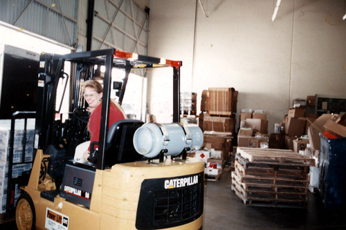 Jonathan's mom, Rosanna Leisure, driving a forklift sometime in the early 1990s.                                             (Courtesy Jonathan Menjivar)