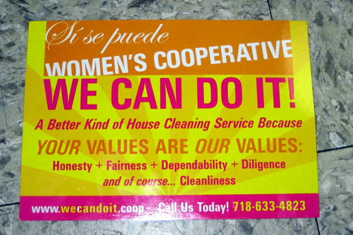 A sign and mission statement for the We Can Do It cooperative.                                             (Victor Castillo)