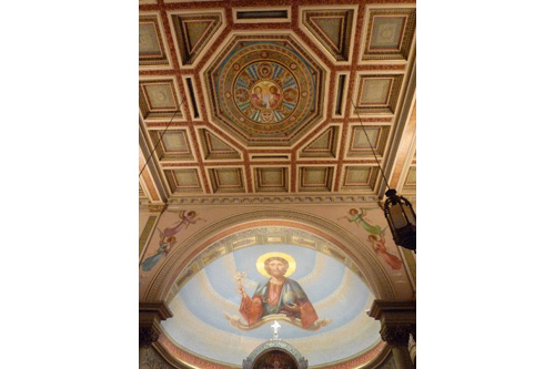 This is the detail of the ceiling at Most Holy Redeemer. The parish began as an Irish enclave. Now it's largely Hispanic.                                             (Desiree Cooper)
