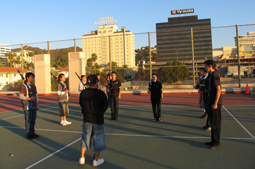 Jose volunteer coaches JROTC practice at dawn at Hollywood High School.                                             (Daniela Gerson)