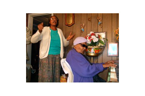 "Willie Mae Eberhardt and Fleta ""Mother"" Mitchell at the piano.                                             (Philip L. Graitcer)"