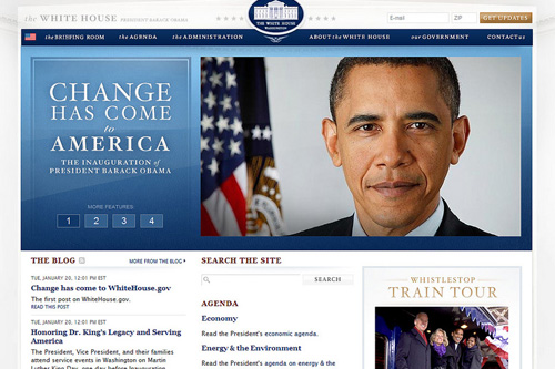 The revamped www.whitehouse.gov after President Obama's inauguration.                                             (fimoculus)